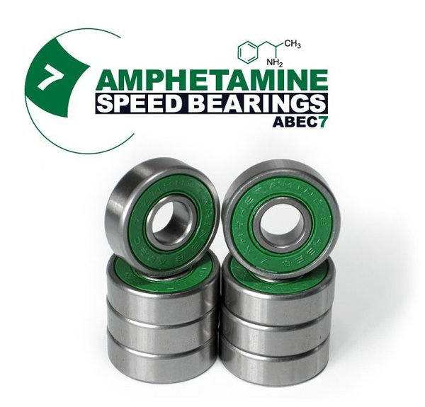 AMPHETAMINE SPEED BEARINGS - ABEC 7 (8-Ball) inkl. Spacer + Sticker