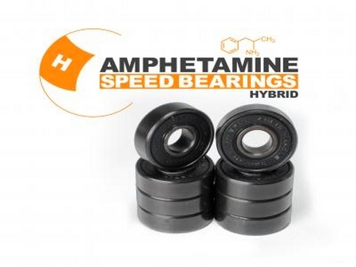 AMPHETAMINE SPEED BEARINGS - HYBRID (Stahl & Keramik) inkl. Spacer + Sticker