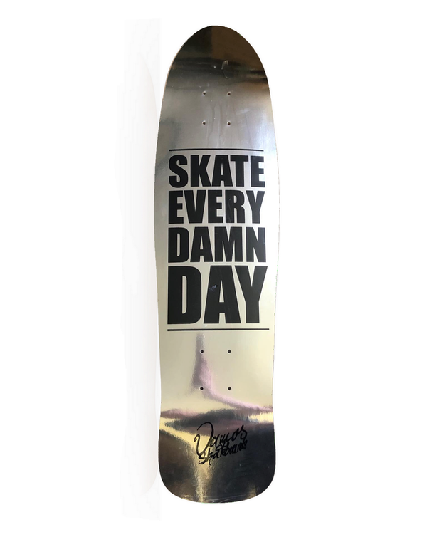 VAMOS SKATEBOARDS EVERY DAY SILVER OLDSCHOOL DECK - Fish Shape 32x8.55""