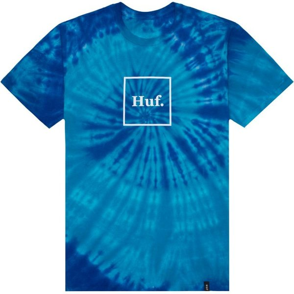 HUF T-Shirt Box Logo Tie-Dye Blue (XL Left)