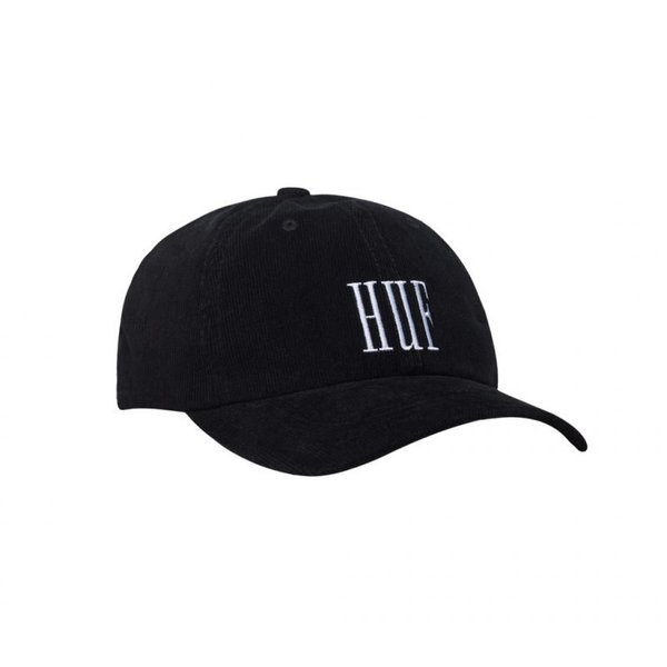 HUF Curved Visor Marka Corduroy 6 Panel Cap - licorice