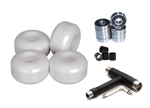 SPAR SET: Blank Wheels White, Bearings, Spacer & T-Tool
