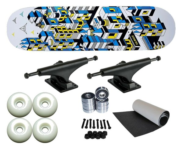 Vamos INVASION Deck, Achsen, Grip, Bearings, Wheels Komplett Skateboard Setup 7.75""